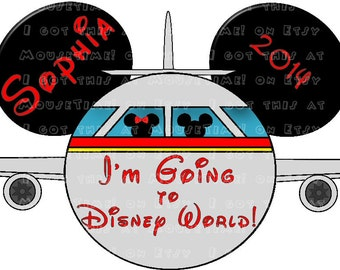 IRON-ON Airplane Ears - I'm Going to Disney World! / Disneyland 2 COLORS! - Mouse Ears Tshirt Transfer / Decal