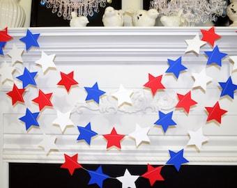 Paper Garland Red White Blue Patriotic Stars garland, 4th July Decor, Patriotic garland, Stars garland, Patriotic decorations