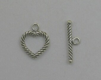 925 Sterling Silver Twisted Heart Toggle Clasp - 15
