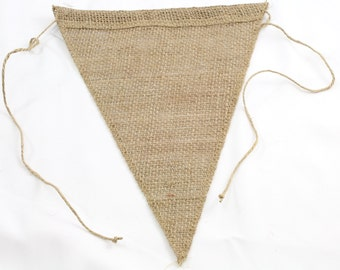 Burlap Triangle Pennant Banners Finished edges laced with burlap twine Great for parties, events, weddings - Bulk pack (BB-BAxxx)