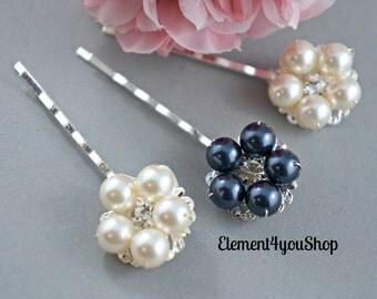 Bridal hair clips, Ivory navy blue hair accessories, Bridesmaid Flower girl hair pins, Wedding hair clips, set of 3 bridal hair pins, Silver