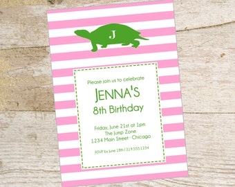 Preppy turtle pink and green striped printable party invitation