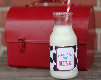 Farm Fresh Milk Printable Bottle Wrapper Label - Barn, Farm Country, Petting zoo party