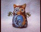 Steampunk Owl, Clay Owl, Night Owl