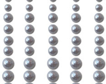 SILVER Pearls 60 asst sizes self adhesive for cardmaking scrapbooking papercrafting embelishments stickers