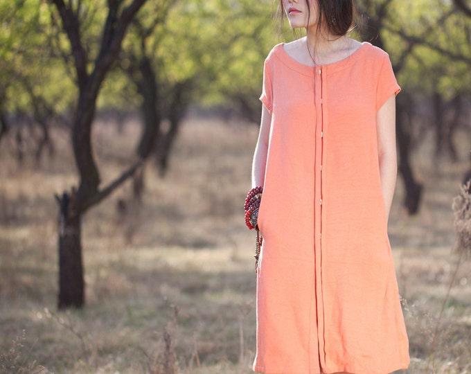 Women dress - Short Sleeve Dress - Front open/Button closure - Summer dress - Linen dress - Made to order