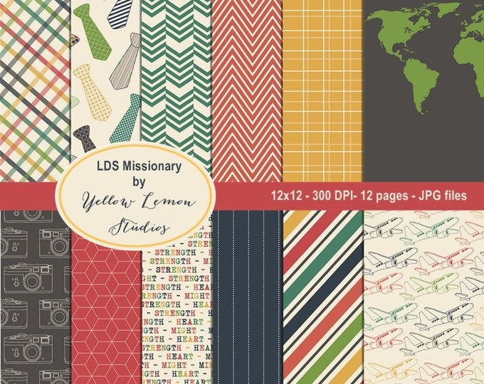 Instant download- LDS missionary Retro style papers 12x12 Digital Paper Pack (digital only paper)