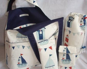 SALE! - Maritime shopping bag / picnic pack