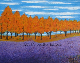 VIOLET FIELD - Original Acrylic Painting in orange, purple and blue 14x11 inches No. 509