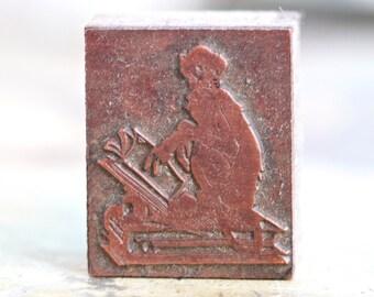 Erudite Ape - Antique Letter Press Print Block - Reading Monkey Stamp