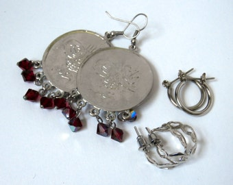 Earring Lot - Vintage - Set of 3 - Hoop Earrings - Coin Earrings