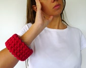 Hand knit bracelet in red and turquoise. Statement bracelet. T-shirt bracelet. Statement jewelry. Unique handmade bracelet.