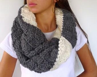 Cuello de lana reversible hecho a mano. Cuello de punto gris. Cuellos originales. Cuellos tejidos a mano. Ideas para regalar