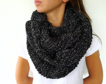 Black chunky knit cowl scarf | Cowl circle scarf | Chunky infinity scarf | Gift idea for women | Unique handmade scarves