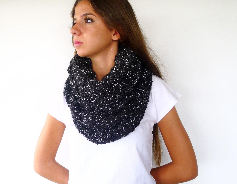 Cuello de punto hecho a mano bufanda negra bufandas de lana - Como hacer ochos de punto ...