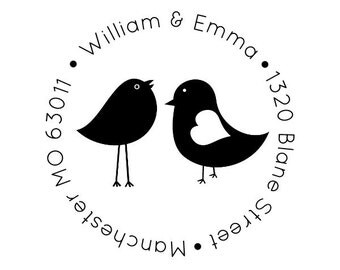 "Round Love Birds Address Stamp, personalized address stamp, wedding stamp, return address stamp, personalized stamp, gift, 1.8x1.8"" (cas6)"