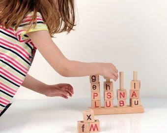 Alphabet Blocks - Wooden Alphabet Blocks - Wooden Toy Stacker -  Montessori Learning - Educational Toy - English Alphabet