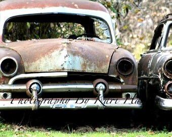 Abandoned Old Rusty Cars Junkyard Scrapyard Rural America Fine Art Photography Man Cave Garage Art