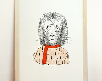 Lion Art Drawing Print Giclee Poster Red Wall Hanging Elegant Animal Illustration Fashion Room Decor Children Art Present A4 8.3 x 11.7 in