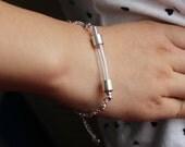 1pc  Glass vial rice bracelets(6MM curve vials,preglued silver-plated screw caps),perfume vial bracelets,vial bracelets, wishing bracelets