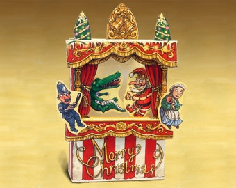Christmas Punch & Judy Finger Puppet Theatre Card