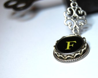 Typewriter Key Necklace,  Personalized with a Letter F Initial.  Art Deco Steampunk Style, Typography Jewelry.