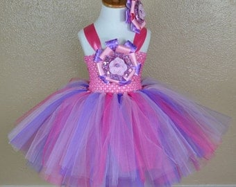 Pink & Purple Puff Princess Ballerina Style Girls Birthday Tutu Dress for Birthdays, Pageants, Photos