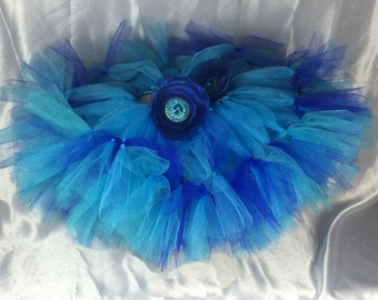 Ocean Princess Girls Blue Teal Turquoise Tutu Petti Skirt for Photos, Holidays, Birthdays, Pageants