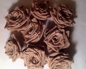 Rustic Country Handmade Burlap Roses Qty 8 Single Roses Heads. Beautiful Roses ready for a bouquet, centerpiece, wreath or crafts!!!
