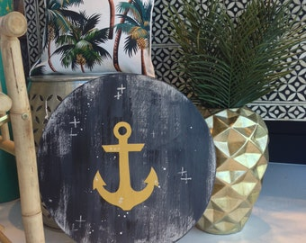 Anchor Design on Handpainted Timber Porthole Wall Art