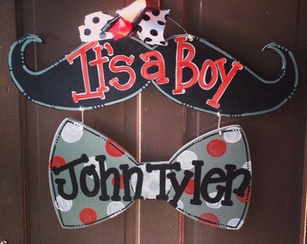 Mustache and Bow Tie Baby Boy Door Hanger