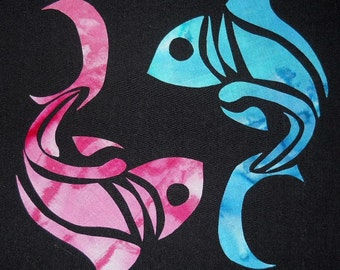 Easy Beautiful Pisces Yin Yang Fish Quilt Applique Pattern Design