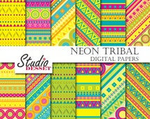 Neon Digital Papers, Tribal Patterns, Aztec Arrows, Geometric Patterns in Bright Colors, Geometry Backgrounds for Scrapbooking, Cards A007