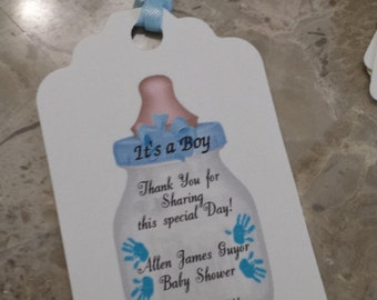 Personalized Favor Tags 2 1/2'', Baby Boy Shower  tags, Thank You tags, Favor tags, Gift tags,