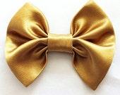 Girl Hair Bow, Gold Bow - Gold Hair Bow - Gold Satin Hair Bow- Shiny Gold Bow - Girls Gold Hair Bow