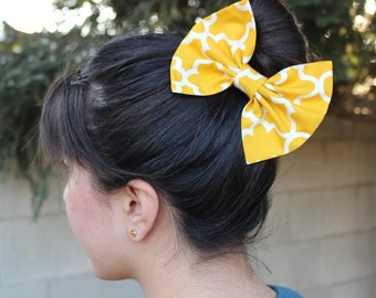 Girl Hair Bow, Mustard Hair Bow - Butterscotch Hair Bow