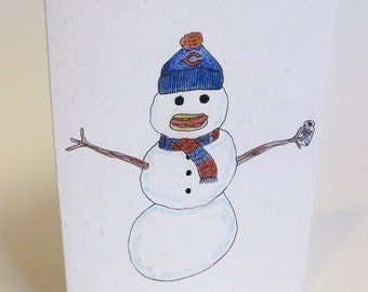 Happy Holidays/Merry Christmas Chicago-Style Snowman Card - Handmade and printed from original ink and gouache illustration