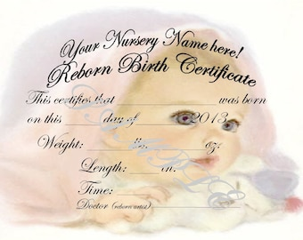 Reborn birth certificates your custom nursery name 5 reborn birth certificates your custom nursery name 5 certificates yadclub Choice Image