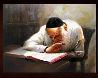 """Judaica Vintage Style """"PERUSA"""" Old Jewish Learning Torah Mixed Media On Canvas by Yossi Bitton"""