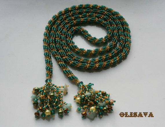 beaded emerald lariat rope necklace seed bead