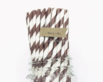 Chocolate Brown Paper Straws, 25 Brown Striped Paper Straws, Wedding Table Setting, Baby Shower, Kids Birthday Party, Cake Pops Made in USA,