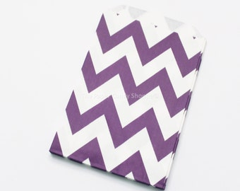 Chevron Favor Bags 12 Purple Chevron Gift Bags, Popcorn Bags, Cookie Bag, Candy Buffet Bags, Candy Bag, Wedding, Baby Shower, Birthday Favor