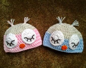 Sleeping Owl Newborn Hat / Baby Shower Gift