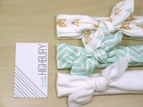 Gold Arrow Chevron Organic Cotton Knotted Headband/ Baby Headband/ Toddler Headband/ Jersey Knit Mint Gold Headband/ set of 3