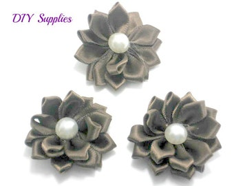 Brown mini satin fabric flower with pearl center -  Petite satin flowers - Small ribbon flowers  - Mini ribbon flowers