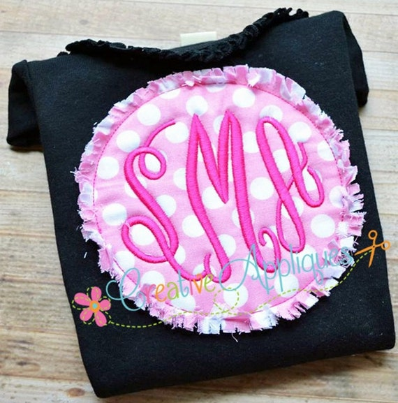 Circle Monogram Frame Bean Stitch Raggy Shabby Frayed