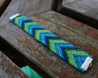 Blue And Green Chevron Friendship Bracelet