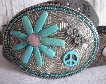 turquoise belt buckle peace sign sparkly belt buckle peace bohemian belt buckle gypsy chic hippie style belt buckle stone beaded belt buckle