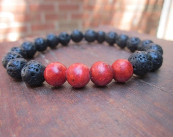 Mens / women's  rustic black bracelet volcanic lava stone bracelet red sponge coral beaded bohemian yoga boho stacking stretch bracelet
