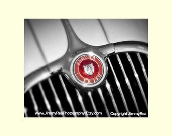 Fathers day, Jaguar XK150  photograph, grill ornament, Wall Art, Decor, Vintage ,Valentine's day gift  Office Art, Auto Picture